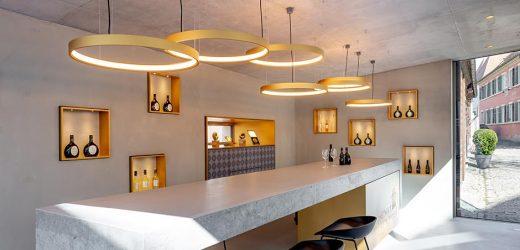 Vinothek Weingut Zehnthof Sommerach mit Leuchten von Delta Light