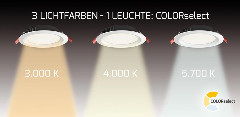 Drei Lichtfarben in einer Leuchte